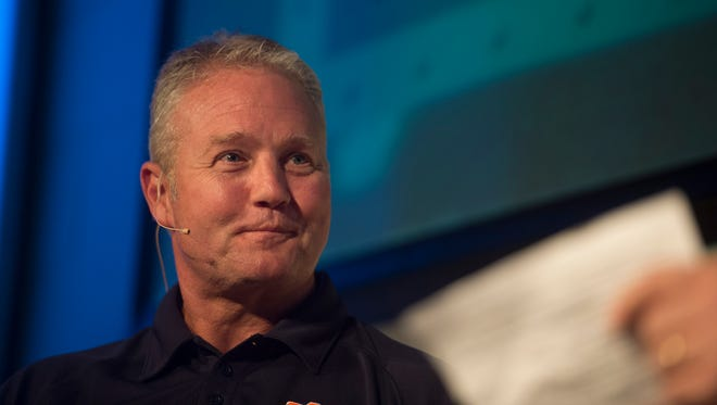 Jay Jacobs, Auburn athletic director, speaks during the Landmark Christian Church Gridiron Kickoff event on Thursday, July 30, 2015, in Montgomery, Ala.