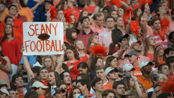 A fan holds up a sign for Auburn quarterback Sean White (13) during the NCAA football game between Auburn and Mississippi State on Saturday, Sept. 26, 2015, at Jordan-Hare Stadium in Auburn, Ala. Albert Cesare / Advertiser