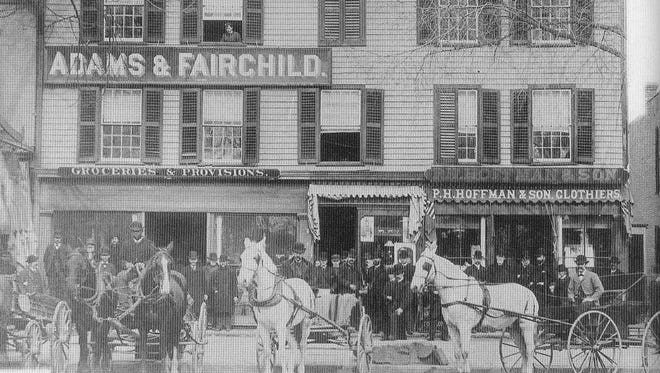 The Adams and Fairchild and PH Hoffman & Sons stores, Morristown, circa 1890.