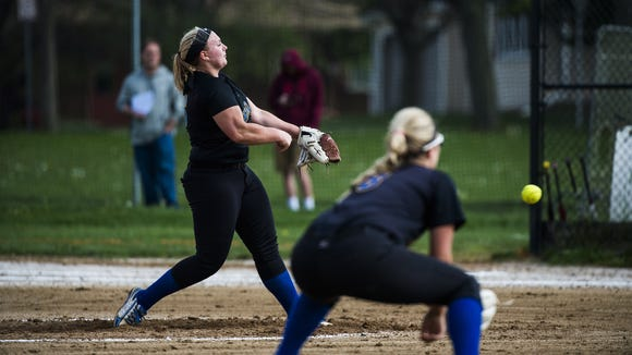 Kennard-Dale's Alexis Valentine pitches against Littlestown on May 3 at Littlestown.