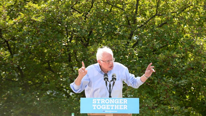 Sen. Bernie Sanders, I-Vt., speaks at an organizing event for Hillary Clinton at Lebanon High School on Monday, Sept. 5, 2016, in Lebanon, New Hampshire. Sanders urged his supporters to back the Democratic nominee and embrace her politics over Republican presidential nominee Donald Trump.