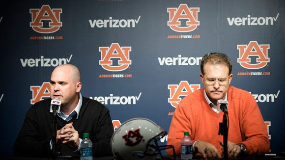 Chip Lindsey speaks during a press conference after