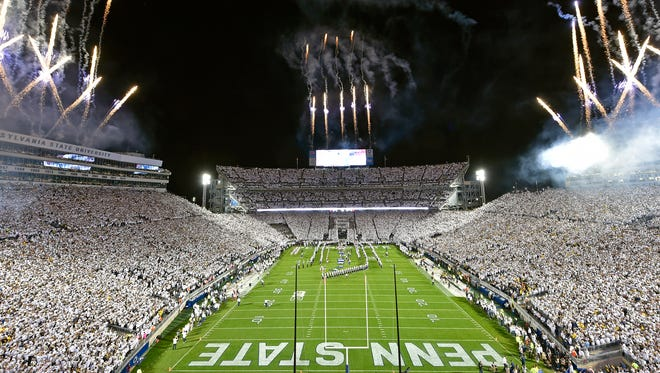 Fireworks are ignited for the opening of an NCAA Division I college football game Saturday, Oct. 21, 2017, at Beaver Stadium. The No. 2 Penn State Nittany Lions defeated Michigan 42-13, improving their season record to 7-0.