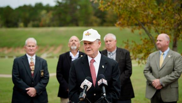 Roy Moore, Republican nominee for Senate, speaks at