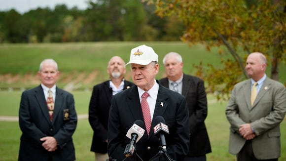 Roy Moore, Republican nominee for Senate, speaks at an endorsement event on Wednesday, Nov. 8, 2017, in Montgomery, Ala. Thirteen Alabama Sheriff's endorsed Roy Moore.