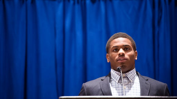 Beauregard running back La'Damian Webb speaks after receiving the AHSAA Class 5A Back of the Year  during the Alabama Sports Writers Association Mr. Football award ceremony on Tuesday, Jan. 30, 2018, in Montgomery, Ala.