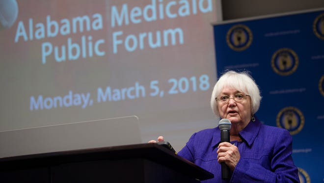 Carol Gundlack speaks during the Alabama Medicaid Public Forum on Monday, March 5, 2018, in Montgomery, Ala.