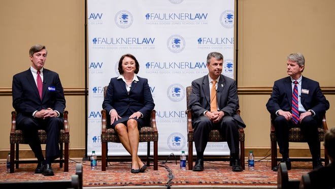 Republican Attorney General Candidate's, from left, Chess Bedsole, Alice Martin, Steve Marshall and Democratic Attorney General Candidate Chris Christie sit during a forum for Alabama Attorney General candidate held by the Federalist Society at Faulkner University in Montgomery, Ala., on Wednesday, May 2, 2018.