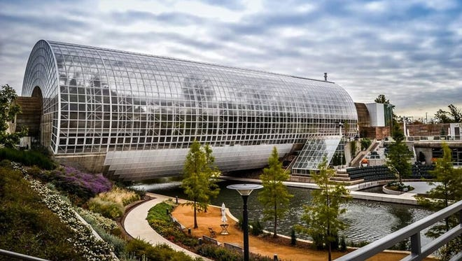 Centerpiece of the Myriad Botanical Gardens in Oklahoma City is the Crystal Bridge Conservatory and its tropical and desert plant collections, waterfall and sky bridge.