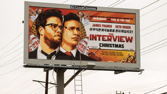 "A billboard for the film ""The Interview"" is displayed Dec. 19 in Venice, Calif."