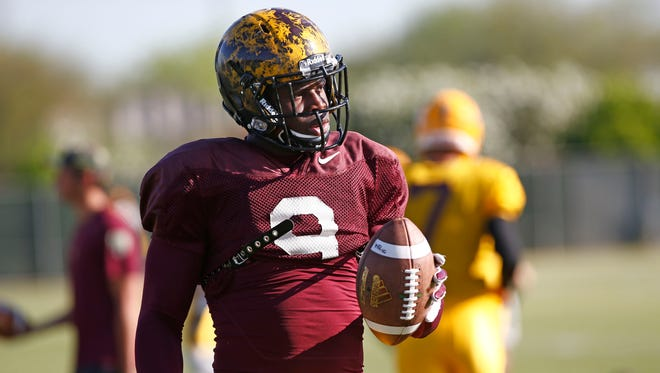 Arizona State running back Kalen Ballage at spring football practice on Tuesday, March 31, 2015, in Tempe.