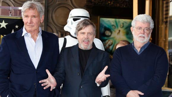 Mark Hamill (center) was honored with a star on the