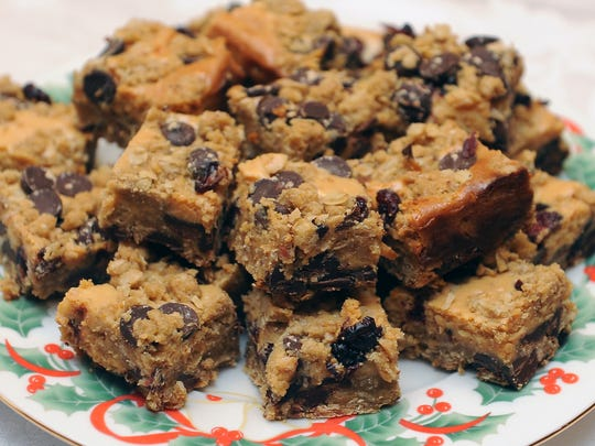 Chocolate chip cranberry cheese bars.