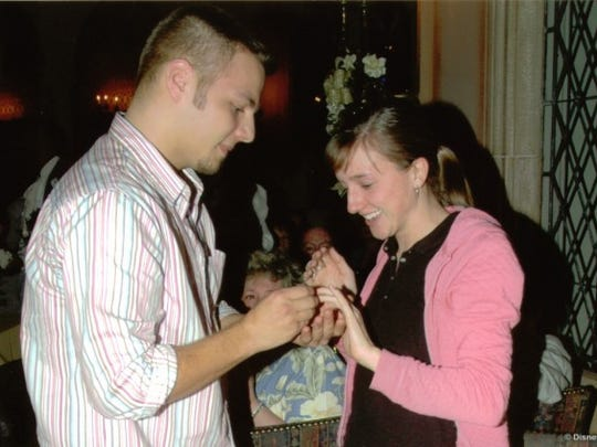 Amanda Porter, of Wilmington, got her dream proposal at Cinderella's Castle.