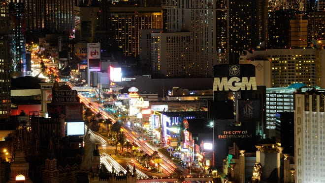 Las Vegas turned off marquees and non-essential exterior lighting to participate in Earth Hour on March 26, 2011. The global initiative by WWF focuses attention on the threat of climate change.