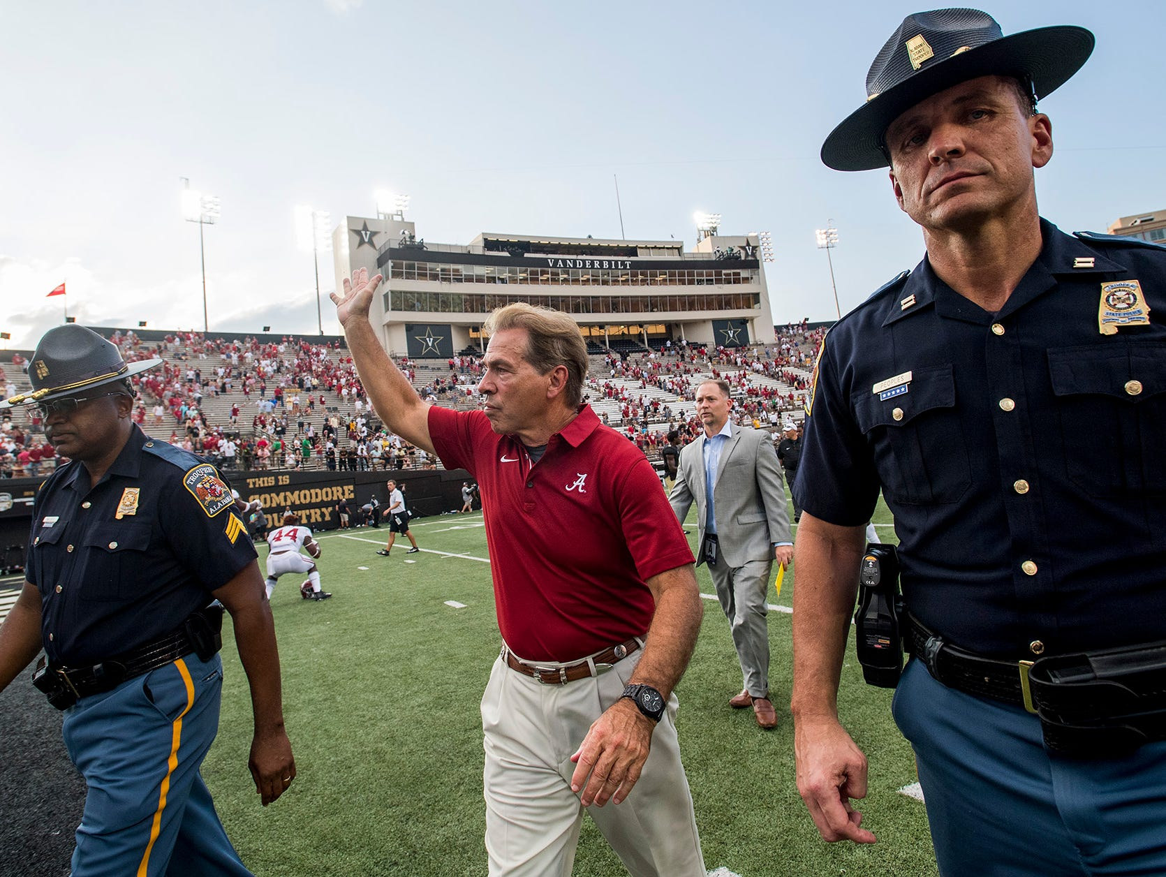 Alabama head coach Nick Saban waves as he leave the field after defeating Vanderbilt at Vanderbilt Stadium in Nashville, Tenn. on Saturday September 23, 2017. (Mickey Welsh / Montgomery Advertiser)