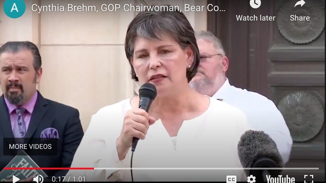 Bexar County GOP Chair Cynthia Brehm speaks at a May 22 press conference on the steps of San Antonio City Hall.