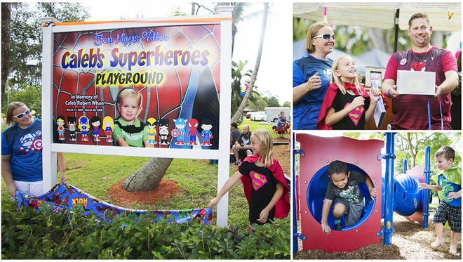 Rob Whan shares memories of watching Spider Man with his son Caleb, 3, who died of leukemia in 2008. Caleb's Superheroes Playground in south Fort Myers was dedicated to Caleb on Sunday.