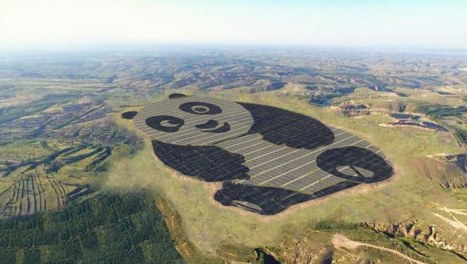 An artist rendering of Panda Green Energy Group Limited's first panda-shaped solar facility.