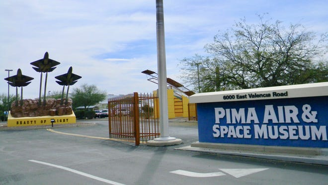 The Pima Air and Space Museum entrance features trio of F-22 Raptor mockups.