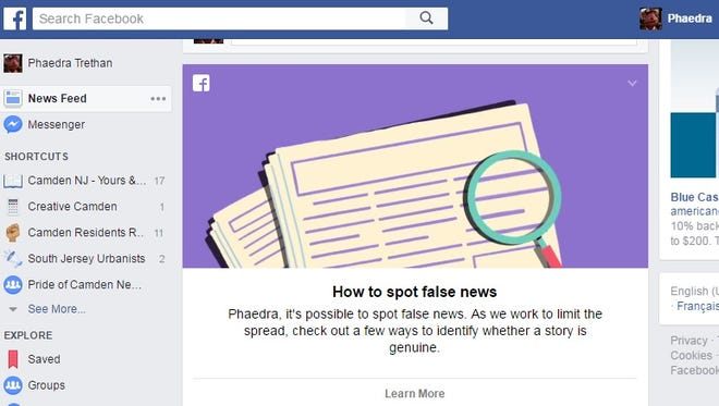 """Facebook offered a reporter a primer on """"How to spot false news"""" in her news feed. Much of the advice, though, is simple common sense."""