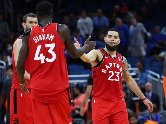 Fred VanVleet (23), Pascal Siakam (43) and the rest of the Raptors open their NBA title defense Monday against the Brooklyn Nets.