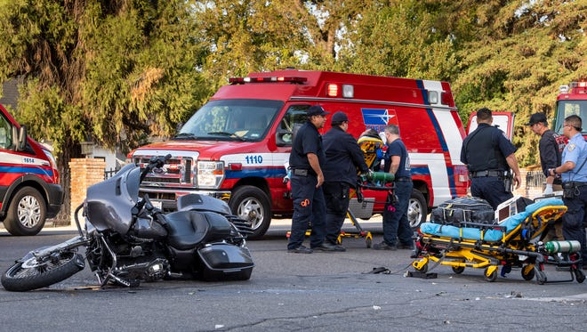 A collision on Main Street in Visalia just before 5 p.m. Wednesday sent a motorcyclist to the hospital with moderate injuries after a woman turned left in front of him at Central Street.