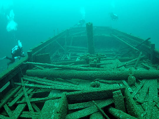 The Rouse Simmons, also known as the Christmas Tree Ship, sank on Nov. 23, 1912, in Lake Michigan, but its wreckage, including Christmas trees, remains preserved.