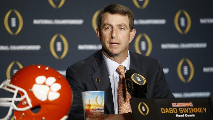 Clemson head coach Dabo Swinney speaks during a new conference for the NCAA college football playoff championship game Sunday in Glendale, Arizona.