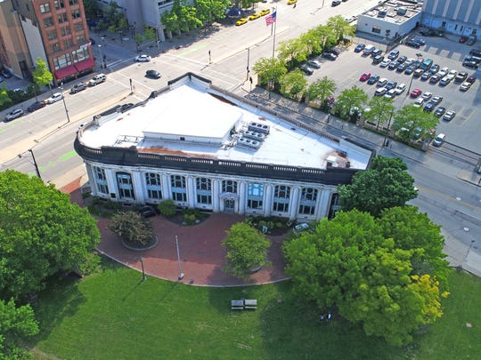 This photo of the Milwaukee County Historical Society was taken by flying a drone in Pere Marquette Park in Milwaukee.