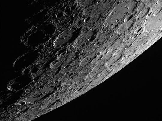 A camera aboard the Messenger spacecraft took this photo on Oct. 2, 2013 of Mercury's sunlit side. The Messenger was the first spacecraft to ever orbit the planet.