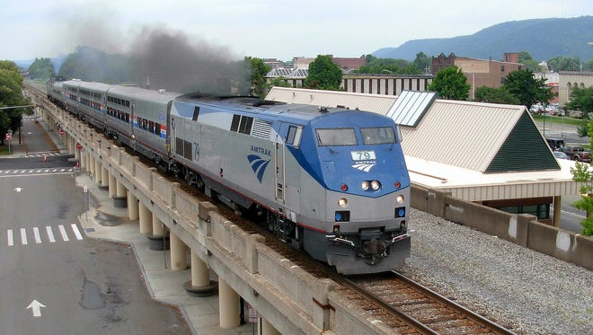 An Amtrak passenger train makes a special visit to downtown Elmira in 2014.