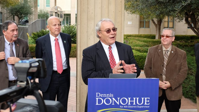Former Salinas Mayor Dennis Donohue announces his candidacy for District 4 Supervisor on the Monterey County Board of Supervisors. From left are Joe Gunter, mayor of Salinas, Jerry Edelin, mayor of Del Rey Oaks and Dave Pendergrass, mayor of Sand City.