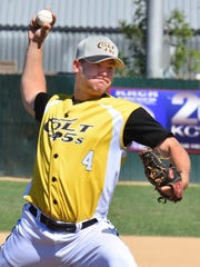 The Colt 45s Kyle Smith deliver a pitch Sunday against the Solano Mudcats. The Colt 45s won 15-5.