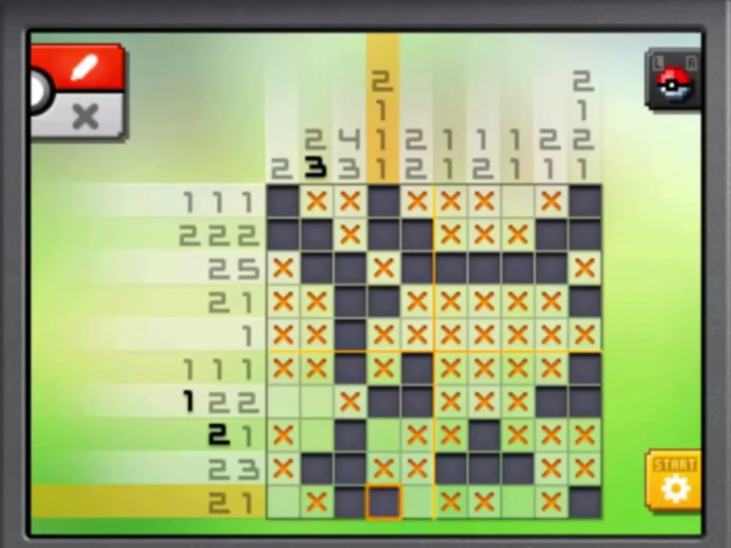 Pokemon Picross lets you solve pixel puzzles shaped like monsters and items from the Pokemon world by using numbers along a grid as clues.