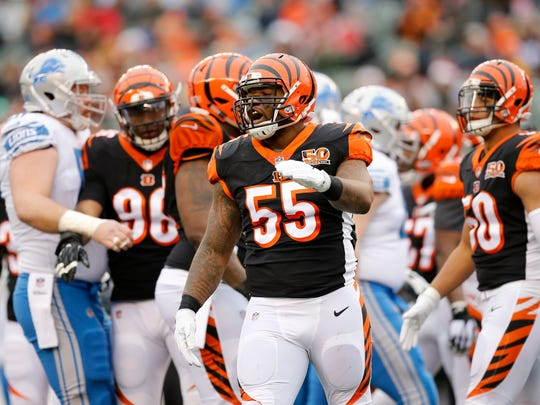 Cincinnati Bengals outside linebacker Vontaze Burfict (55) celebrates after stuffing a run attempt in the first quarter of the NFL Week 15 game between the Cincinnati Bengals and the Detroit Lions at Paul Brown Stadium in downtown Cincinnati on Sunday, Dec. 24, 2017. At halftime the Bengals trailed 7-6.