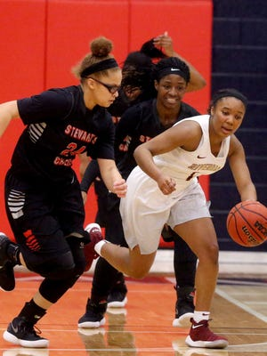Riverdale's Alasia Hayes (1) takes the ball down the court as Stewarts Creek's Kaylee Odom (24) guards her on Monday, Feb. 19, 2018, during the 7-AAA district tournament at Oakland.