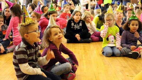 Children celebrate Noon Year's Eve at Herrick District Library in this file photo from 2015. The event draws several hundred people each year. Due to COVID, this year's celebration will take place virtually.