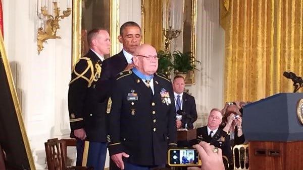 President Obama awards Sgt. Maj. Bennie Adkins the Medal of Honor.