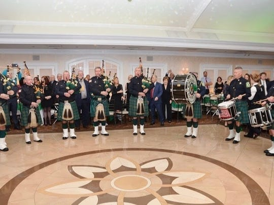 The Essex County Police and Fire Emerald Society Pipes and Drums performs at the Jan. 12 gala of the Rutherford Irish American Association.