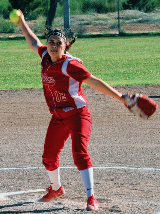 Matt Hollinshead — Current-Argus Loving freshman pitcher Autumn McDonald throws a pitch in last Thursday's home opener against Dexter. McDonald started and won both games Monday at Mesilla Valley Christian.