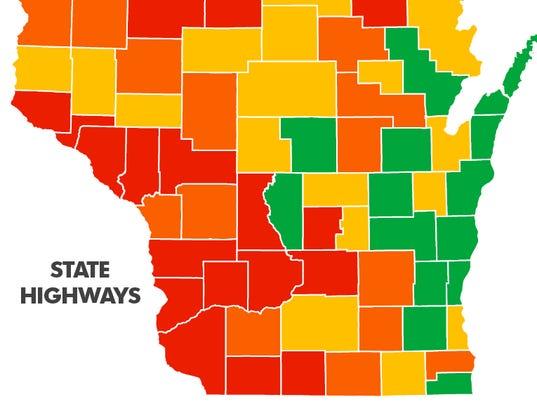 Maps Wisconsins Worst Best Highways - Wi maps