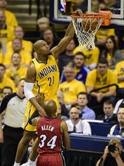 David West goes to the hole for the Pacers.