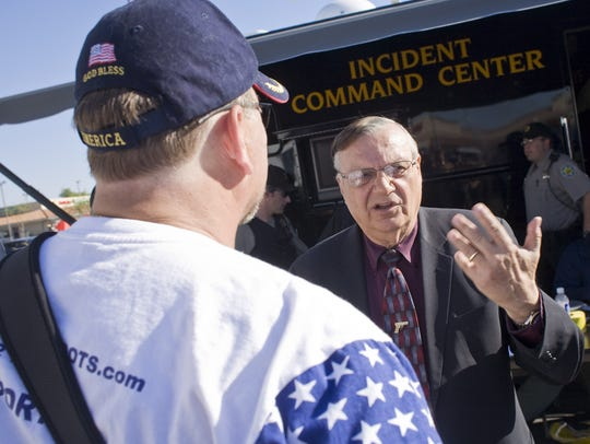 Then-Maricopa County Sheriff Joe Arpaio talks to anti-illegal-immigration