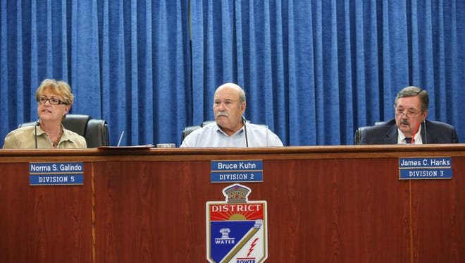 From left: Imperial Irrigation District board members Norma Sierra Galindo, Bruce Kuhn and Jim Hanks, seen at a July 18, 2017 board meeting.