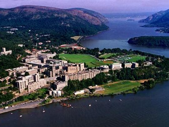 The United States Military Academy at West Point,  looking north along the Hudson River