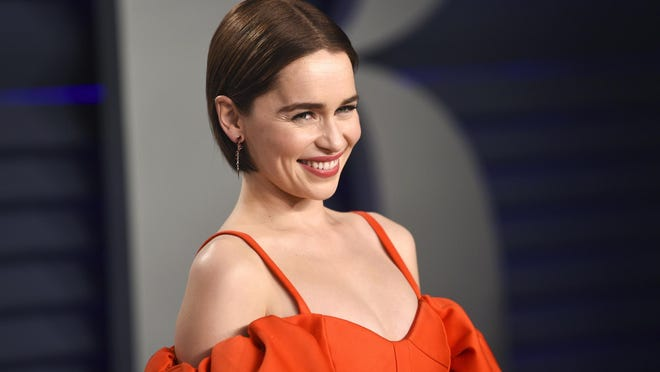 This Feb. 24, 2019 file photo, Emilia Clarke arrives at the Vanity Fair Oscar Party in Beverly Hills, Calif. Clarke has revealed she's had two life-threatening aneurysms, and two brain surgeries, since the show began.