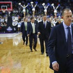 Florida Gulf Coast head coach Joe Dooley walks off the court after the loss Thursday, March 16, 2016 of a first-round men's college basketball game in the NCAA Tournament, Thursday, March 17, 2016, in Raleigh, N.C. (Corey Perrine/Staff)