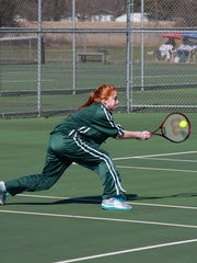 Meg Jones competes at No. 1 doubles for Pennfield in