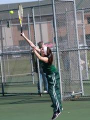 Freshman Keara Wheeler plays at No. 2 singles for Pennfield